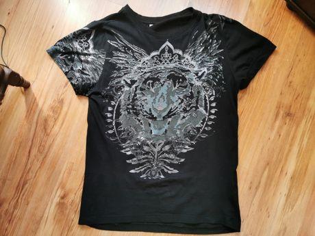 Śliczny t-shirt męski w kolorze czarnym. Stan Jak Nowy. Rozmiar L