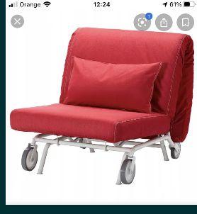IKEA fotel skladany,funkcja spania - lozko IKEA,czerwony kultowy model
