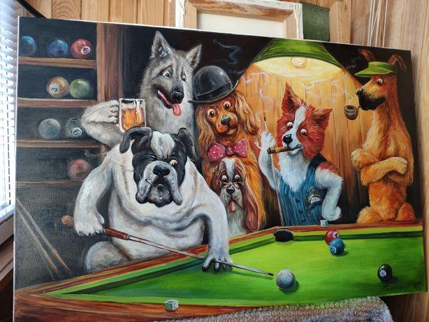 """Под заказ! Картина """" Бильярд"""", маслянная живопись"""
