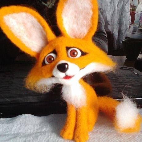 Валяная лисичка,шерсть, подарок, интерьер