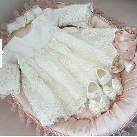 Крестильный набор . Детское платье , нарядное платье , платье для дево