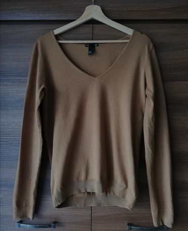 Brązowy sweter w serek H&M rozm. S/36