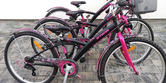 Śliczne rowery Bitwin koła 24 dla dziewczynek ok. 6-9 lat