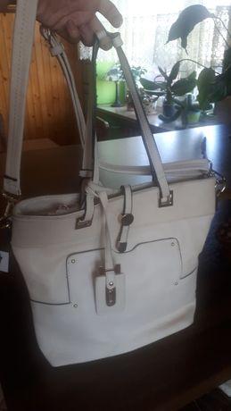 Duża kremowa, biała, jasna torebka na ramię