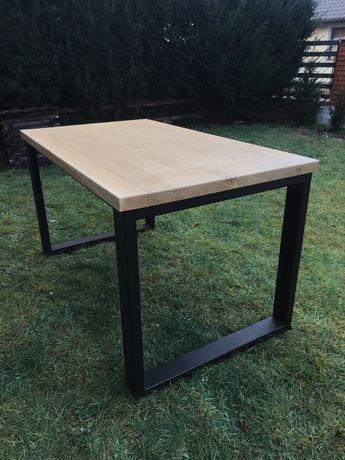 Stół do jadalni, metal i drewno, dąb, styl industrialny