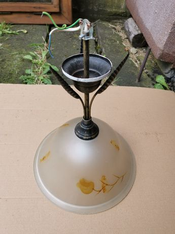 Lampa wisząca sufitowa w bardzo dobrym stanie, klosz, liście