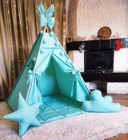 Вигвам палатка домик  детский с ковриком Мятный Полный комплект!