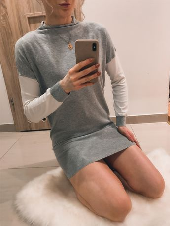 Sweterek tunika Tezenis by Calzedonia szary białe rękawy półgolf