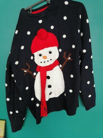 Sweter swiateczny z balwankiem rozm xl