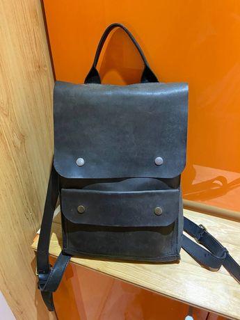 Кожаный рюкзак baglet черный рюкзак украинский бренд