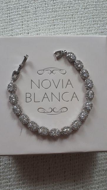 bransoletka srebrna z cyrkoniami biżuteria ślubna Novia Blanca