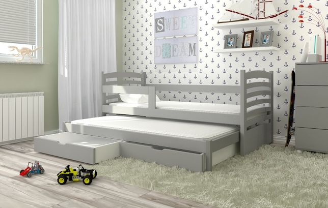 Podwójne łóżko Olek z barierką i materacami gratis