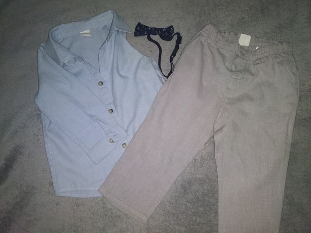 Koszula spodnie muszka H &M komplet 80