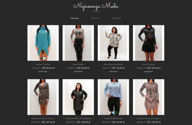 Sklep internetowy butik z odzieżą damską sprzedam