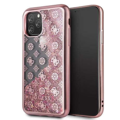 Etui GUESS - 4G Peony Liquid Glitter Iphone 11 Pro Różowo-Złoty