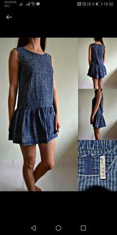 Джинсовое платье варенка в клетку с воланом