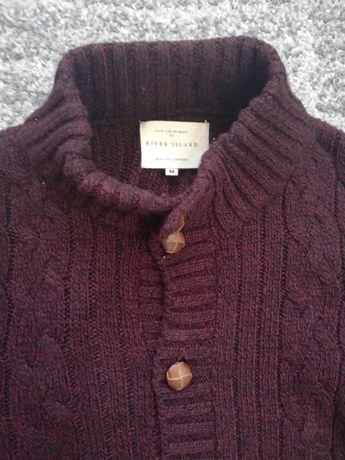 River Island sweter męski zimowy rozpinany burgund rozmiar M idealny