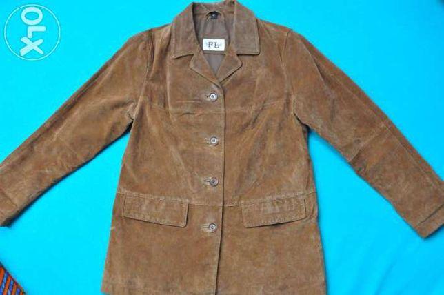 Brązowa damska skórzana kurtka rozmiar 38