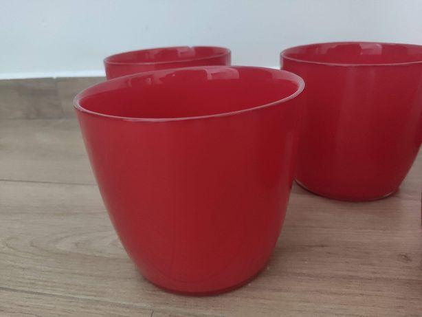 Doniczka, doniczki osłonka ceramiczna, szklana czerwona