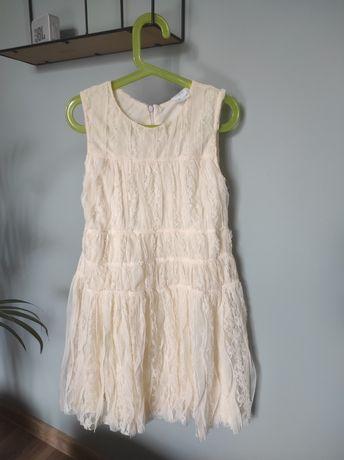 Sukienka sukieneczka Zara 140 koronka koronkowa ecru wesele przyjęcie