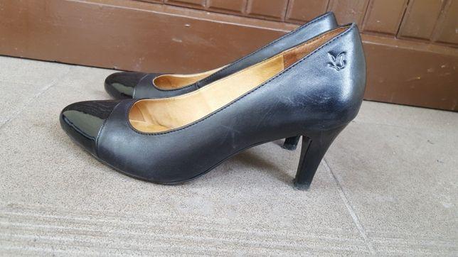 Czarne buty obcas skóra botki obcas szpilki czółenka roz 37 jak nowe