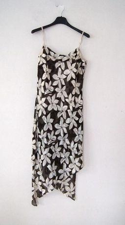 brazowa zwiewna tunika kwiecista sukienka w kwiaty 38 M 42 46 48 XXXXL