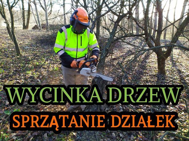 Wycinka drzew, gałęzie,rębak,sprzątanie działek,rozbiórki,koparka