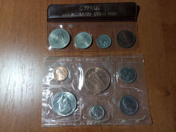 Юбилейные наборы США 1776-1976 Независимость Кипр 1980 монеты мир