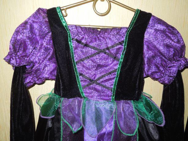 Платье дет.4-5лет,карнавальное. фиол. бархат, паутинка.