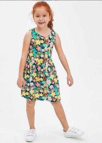Платье цветочное для девочки 5-6лет.хлопок 100%