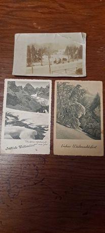 Stare przedwojenne kartki pocztowe widokówki świąteczne Hitler znaczki