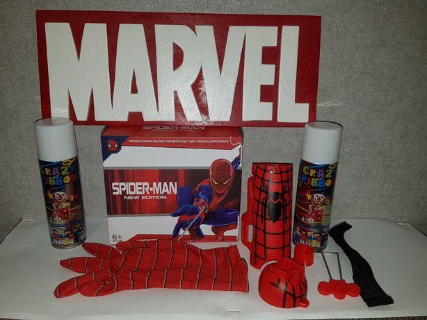 Набор Супергероя Спайдермена: перчатка+пена, для стрельбы паутиной.