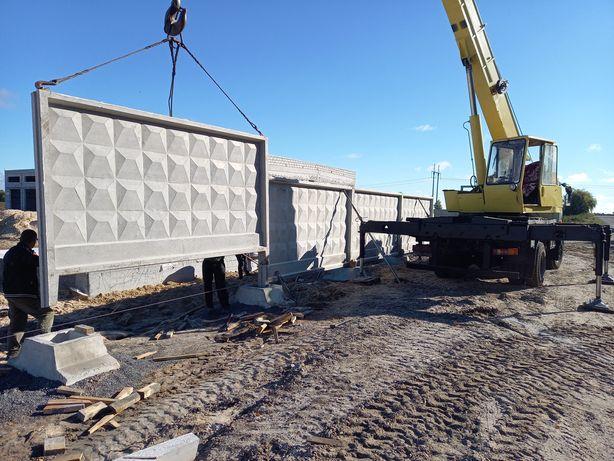 Установка бетонных заборов,монтаж железобетонных заборов
