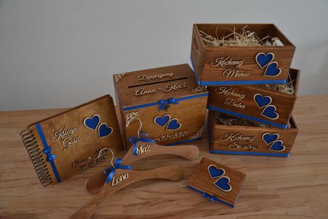 Skrzynki i akcesoria ślubne pudełko na koperty obrączki podziękowania