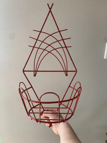 Kwietnik czerwony PRL, metalowy, donica