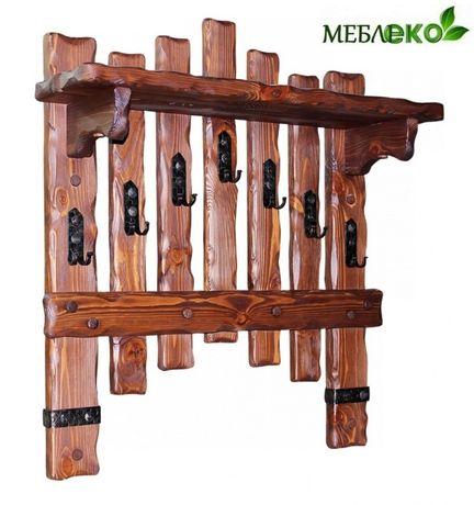 Вешалка - полка деревянная, Вешалка Добряк