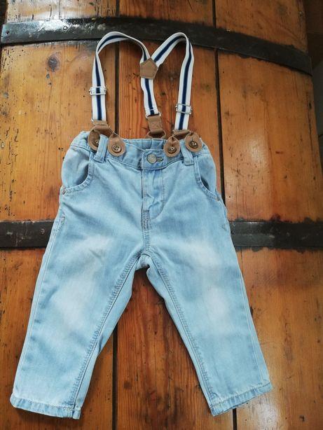 Spodnie jeansy szelki Lindex 68/74