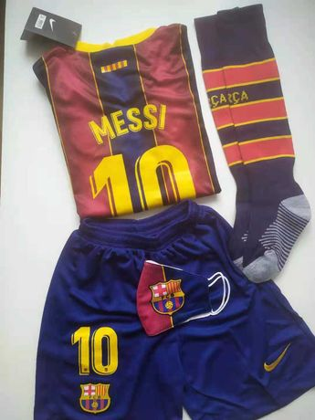 MEGA ZESTAW Piłkarski Koszulka Messi Barcelona 120-160
