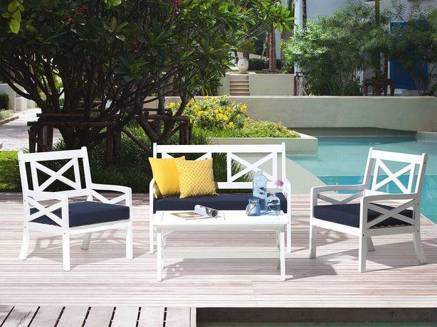 Cadeira de jardim de madeira branca com almofada azul BALTIC - Beliani