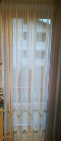 Firanka mleczna écru na okno balkonowe