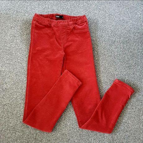 Czerwone spodnie sztruksowe jegginsy wysoki stan rurki na gumce Cubus
