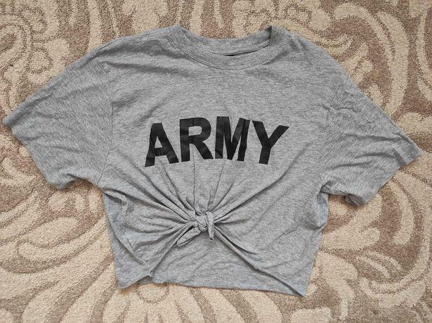 Szara bluzka wiązana army