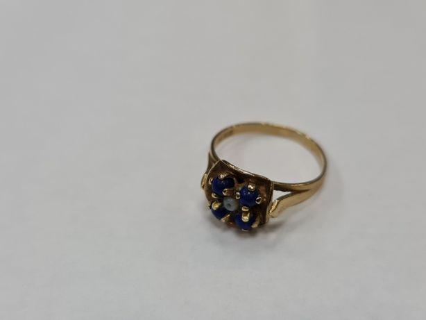 Delikatny złoty pierścionek damski/ 333/ 2.18 gram/ R12/ Niebieski kam
