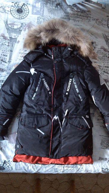 зимний пуховик куртка удлиненная на рост 122-134 новое состояние