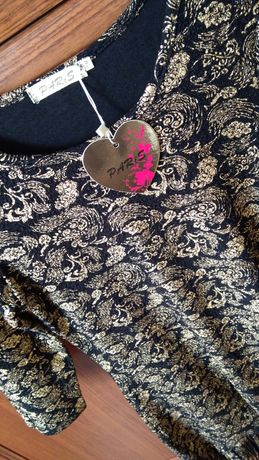 Nowa Sukienka złoto czarna z frędzlami boho r. S/36/M