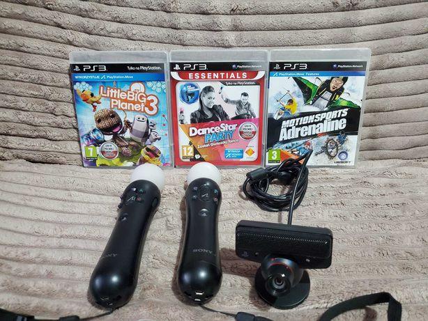 Kontrolery Move PS3 /PS4 + Kamerka+gry /stan idealny polecam