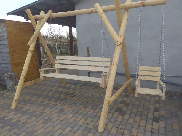 huśtawka drewniana, ogrodowa, hustawka, ławka