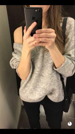 Sweter szary M wełna