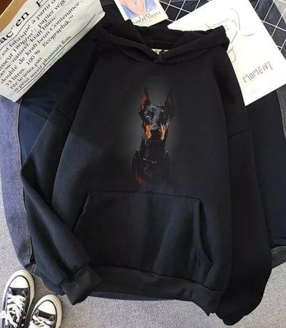 Bluza czarna z kapturem pies doberman S-XXL