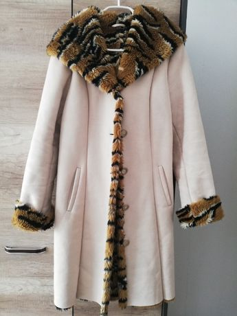 sztuczne futerko, kożuch, długi płaszcz, kurtka z kapturem, M